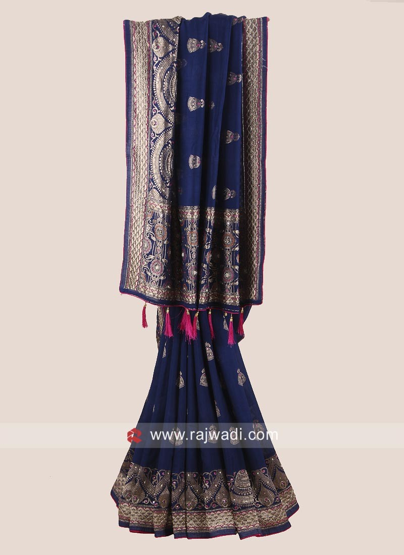 Banarasi Silk Saree in Navy Blue
