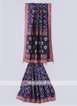 Banarasi silk saree in navy blue color