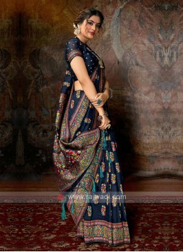 Banarasi Silk Saree In Navy Color