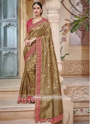 Banarasi Silk Saree in Olive