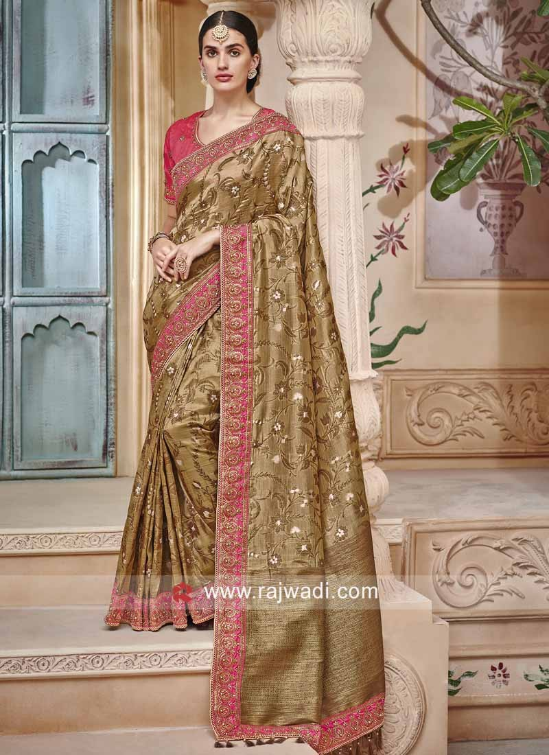 Banarasi Silk Saree in Olive