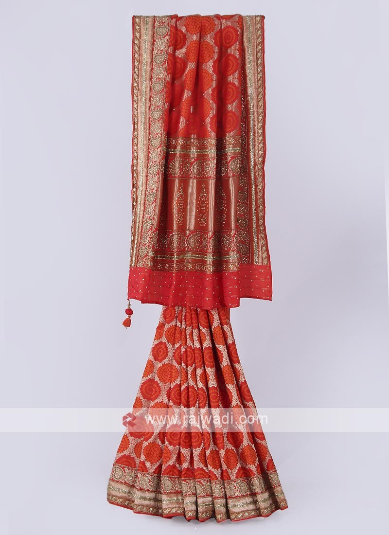 Banarasi Silk saree in oragne color
