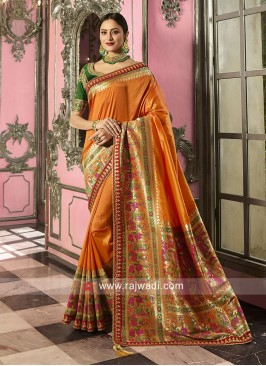 Banarasi Silk Saree in Orange