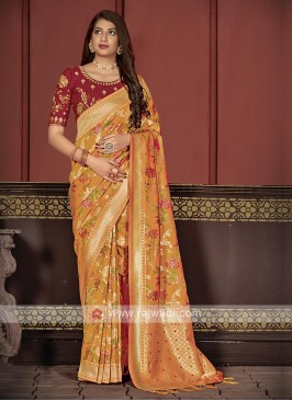 Banarasi Silk Saree In Orange Color