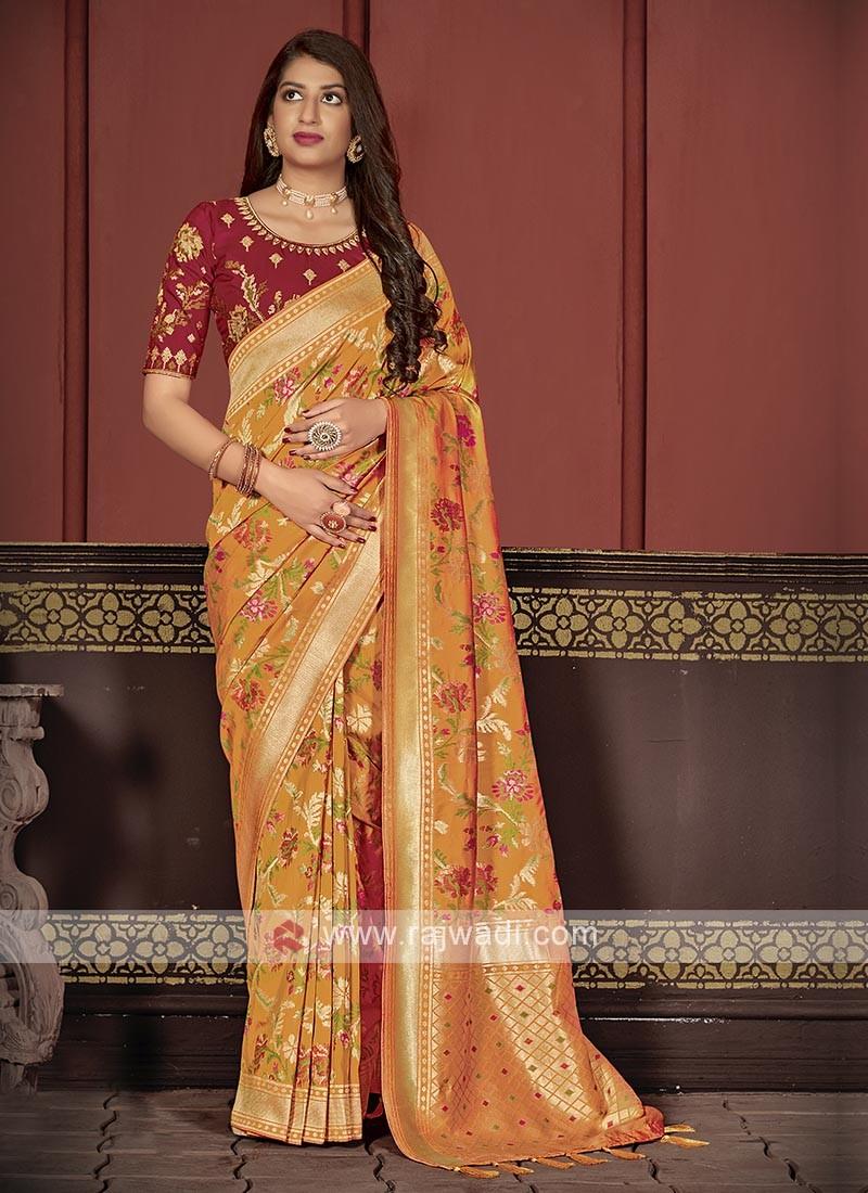 Banarasi Silk Saree In Orange Color