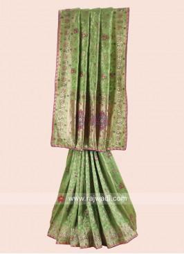 Banarasi Silk Saree in Parrot Green