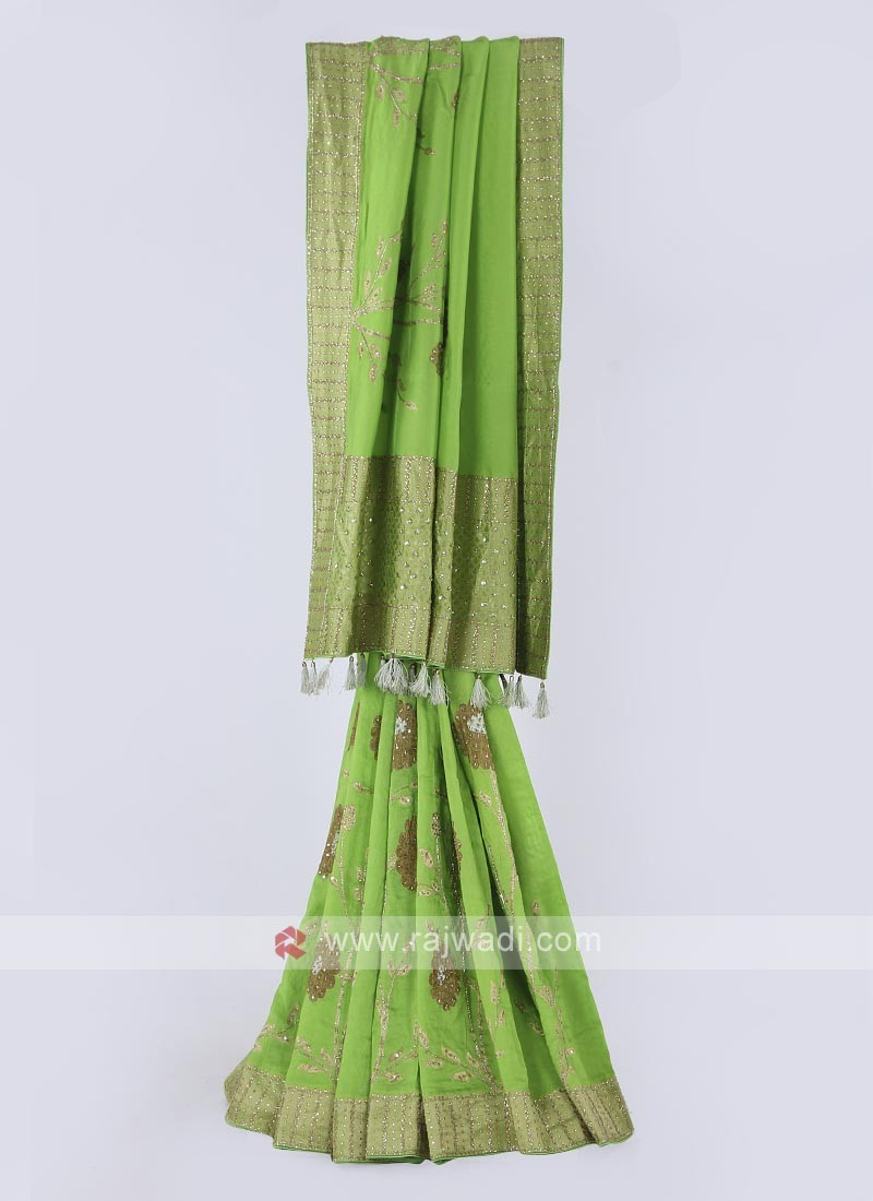 Banarasi silk saree in parrot green color
