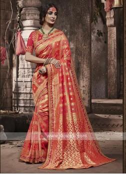 Banarasi Silk Saree In Peach Color