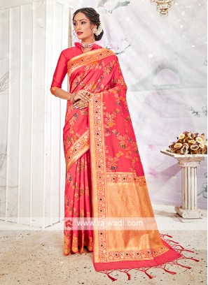 Banarasi Silk Saree In Peach Color
