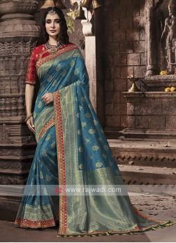 Banarasi Silk Saree In Peacock Blue Color
