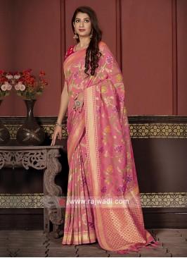 Banarasi Silk Saree In Pink