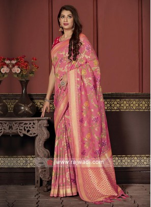 Banarasi Silk Saree In Pink