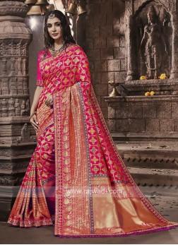 Banarasi Silk Saree In Pink Color