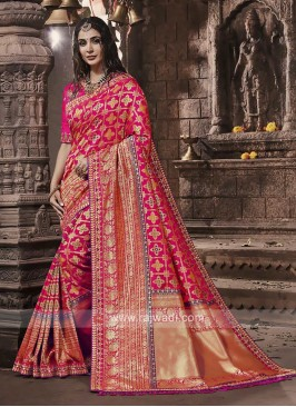 Banarasi Silk Saree In Pink Color