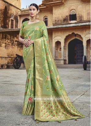 Banarasi Silk Saree in Pista Green