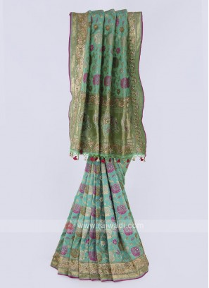 Banarasi silk saree in pista green color