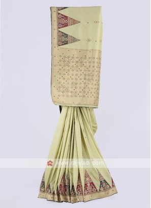 Banarasi silk saree in pista green color