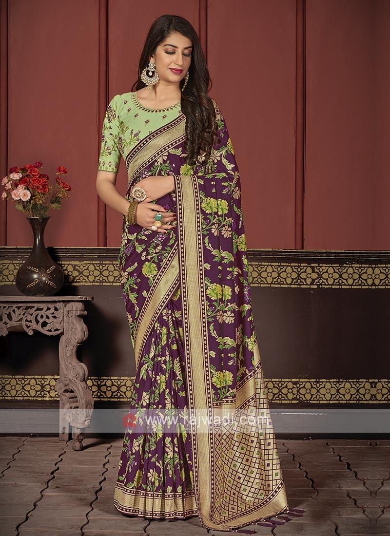 Banarasi Silk Saree In Purple