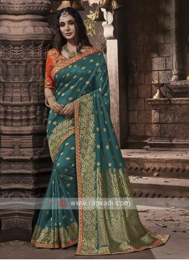 Banarasi Silk Saree In Rama Green Color