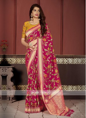 Banarasi Silk Saree In Rani Color