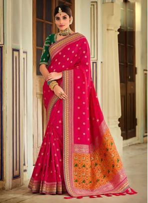 Banarasi Silk Saree In Rani Color