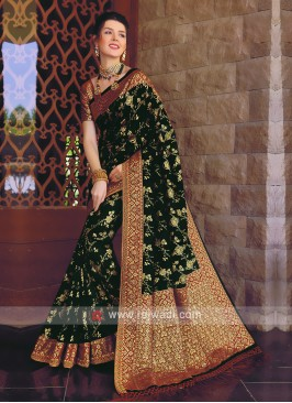 Banarasi Silk Saree In Red and Green