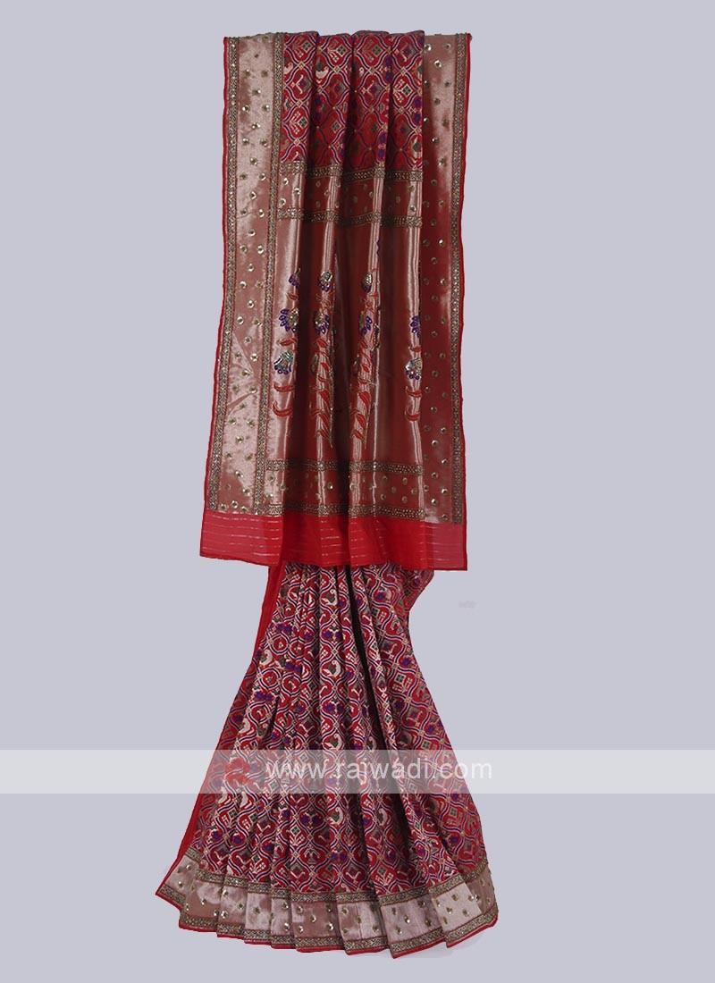 Banarasi silk saree in red color