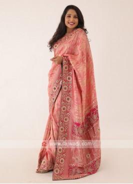 Banarasi Silk Saree In Salmon Pink