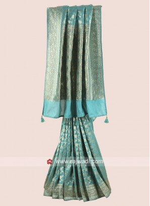 Banarasi Silk Saree in Sea Green