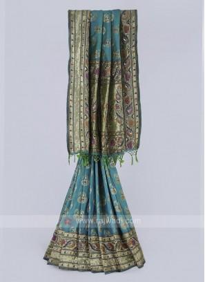 Banarasi silk saree in sea green color