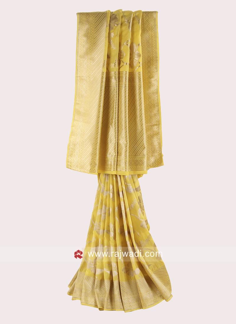 Banarasi Silk Saree in Yellow