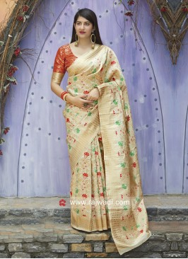 Banarasi Silk Saree with Contrast Blouse