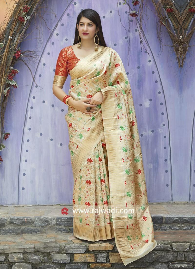 Banarasi Silk Saree with Contrast Blouse