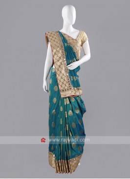 Banarasi Silk Saree with Golden Blouse Piece