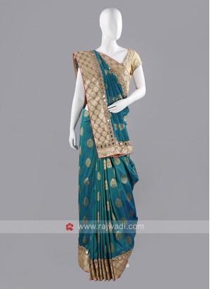 Banarasi Silk Saree with Golden Blouse Piece