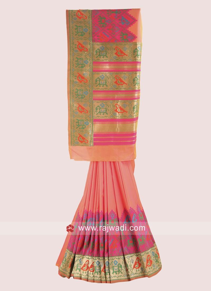 Banarasi Silk Saree with Pink Blouse