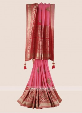 Banarasi Silk Saree with Raw Silk Blouse