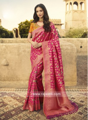 Banarasi Silk Saree with Raw Silk Blouse