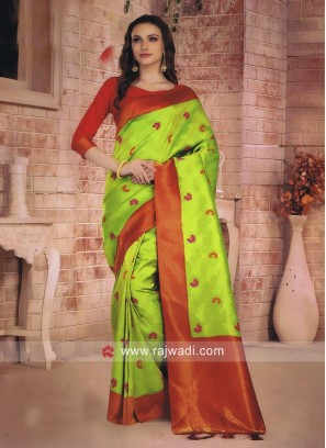 Banarasi Silk Saree with Red Border