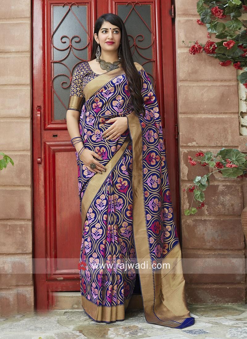 Banarasi Silk Saree with Weaving Border