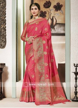 Banarasi Silk Saree With Zari Woven Border