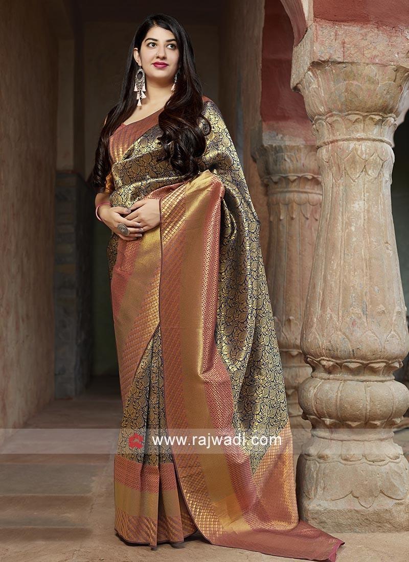 Banarasi Silk Saree with Flower Motifs