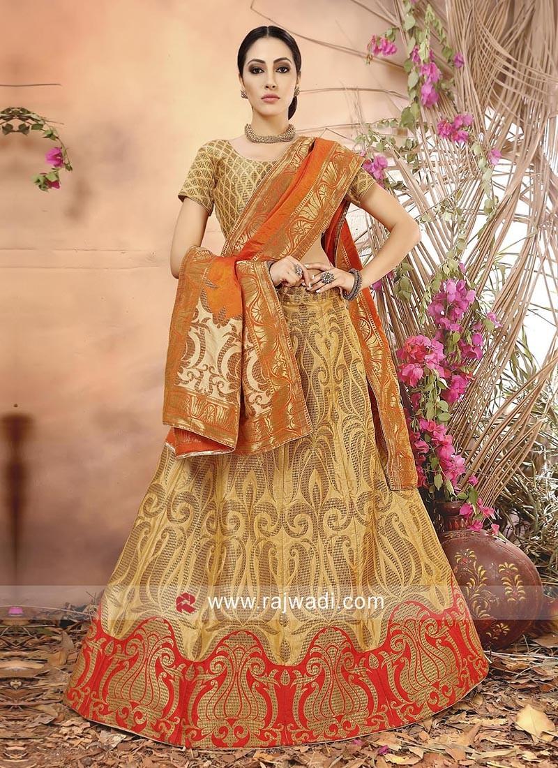 Banarasi Silk Semi Stitched Lehenga Choli