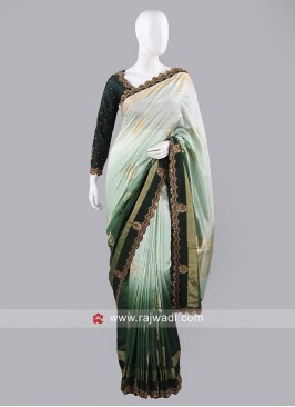 Banarasi Silk Shaded Saree with Ready Choli