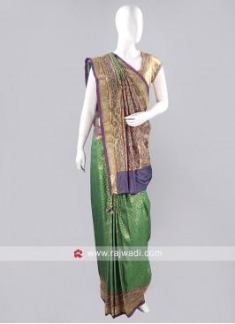 Banarasi Silk Stone and Diamond Work Saree
