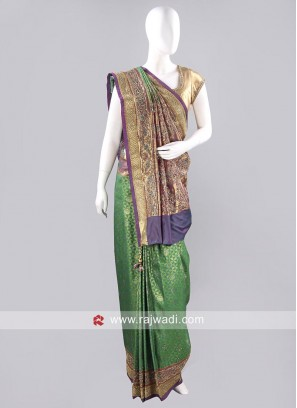 Banarasi Silk Stone and Diamond Work Saree