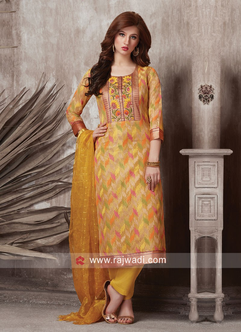 Dressline Banarasi Silk Straight Fit Salwar Kameez