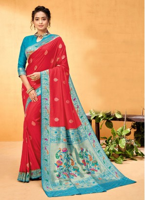 Banarasi Silk Tomato Red and Turquoise Color