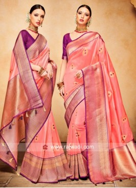 Banarasi Silk Weaved Saree in Peach