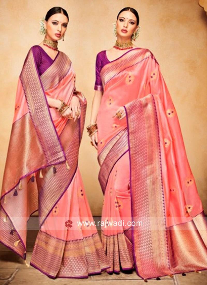 Banarasi Silk Weaved Saree in Peach